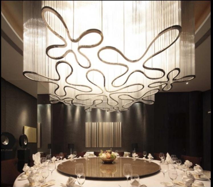 Decorative flower iron glass pendant project light