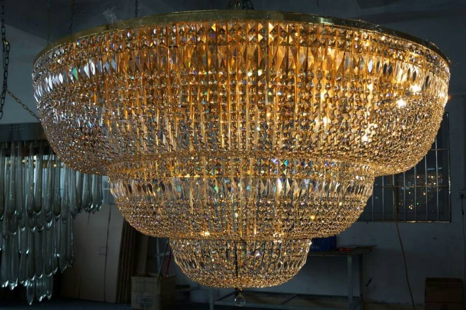 Luxury gold hotel project crystal pendant lamp