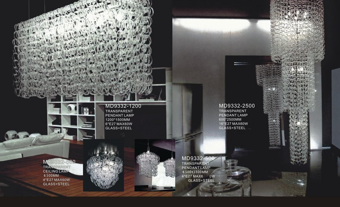 Modern hanging glass pendant lamp hotel lighting